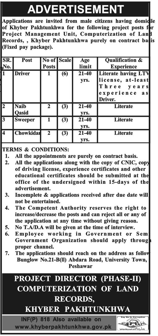 Land Record Department KPK 06 Jobs 20th February 2018 Daily Mashriq Newspaper