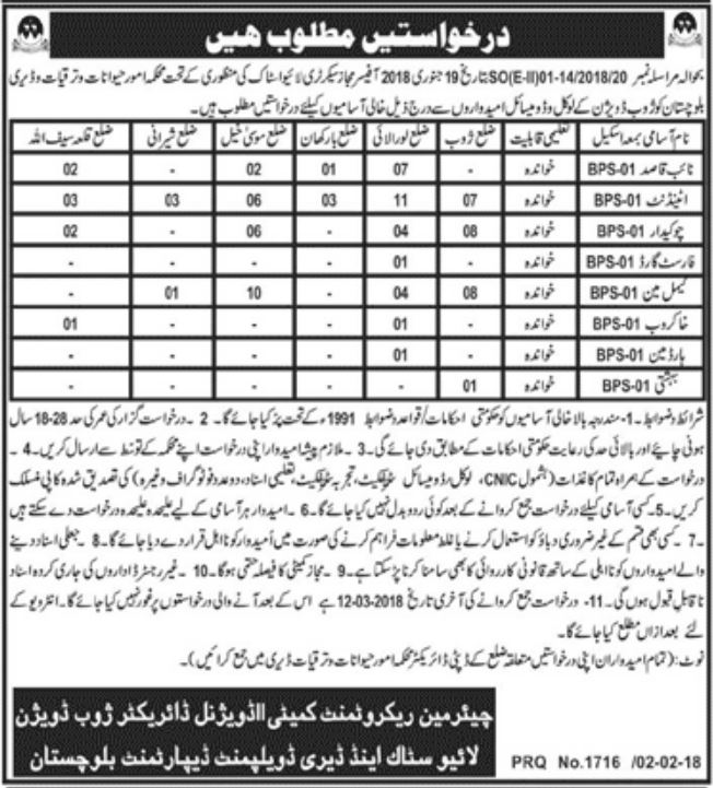 Baluchistan Live Stock & Dairy Development 97 Jobs Daily Jang Newspaper 03rd February 2018