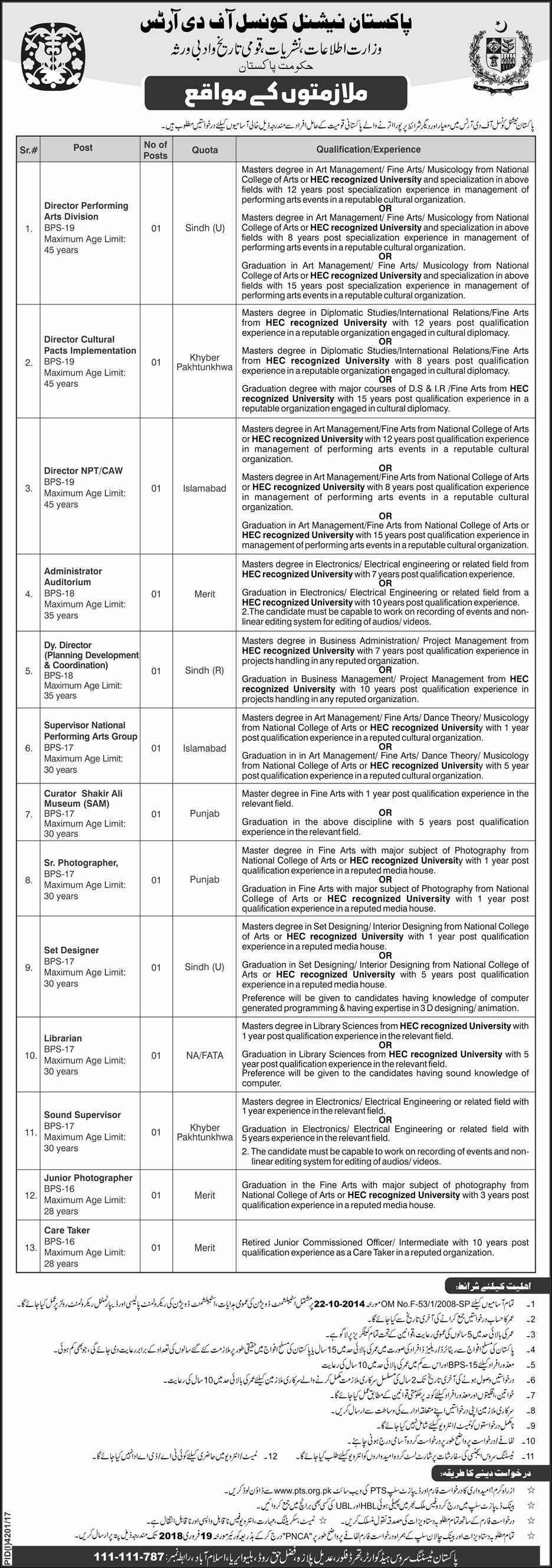 National Council of the Arts Pakistan 13 Jobs 05 February 2018 Daily Express Newspaper