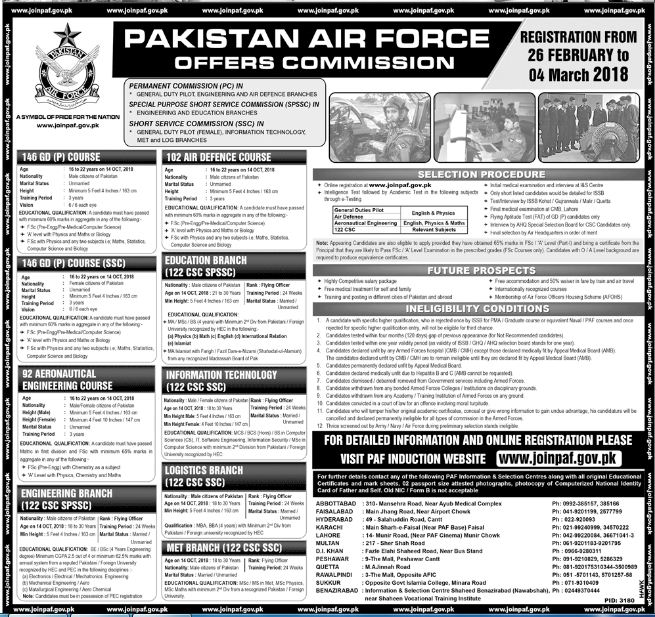 Pakistan Air Force New Jobs 25th February 2018 Daily Jang Newspaper