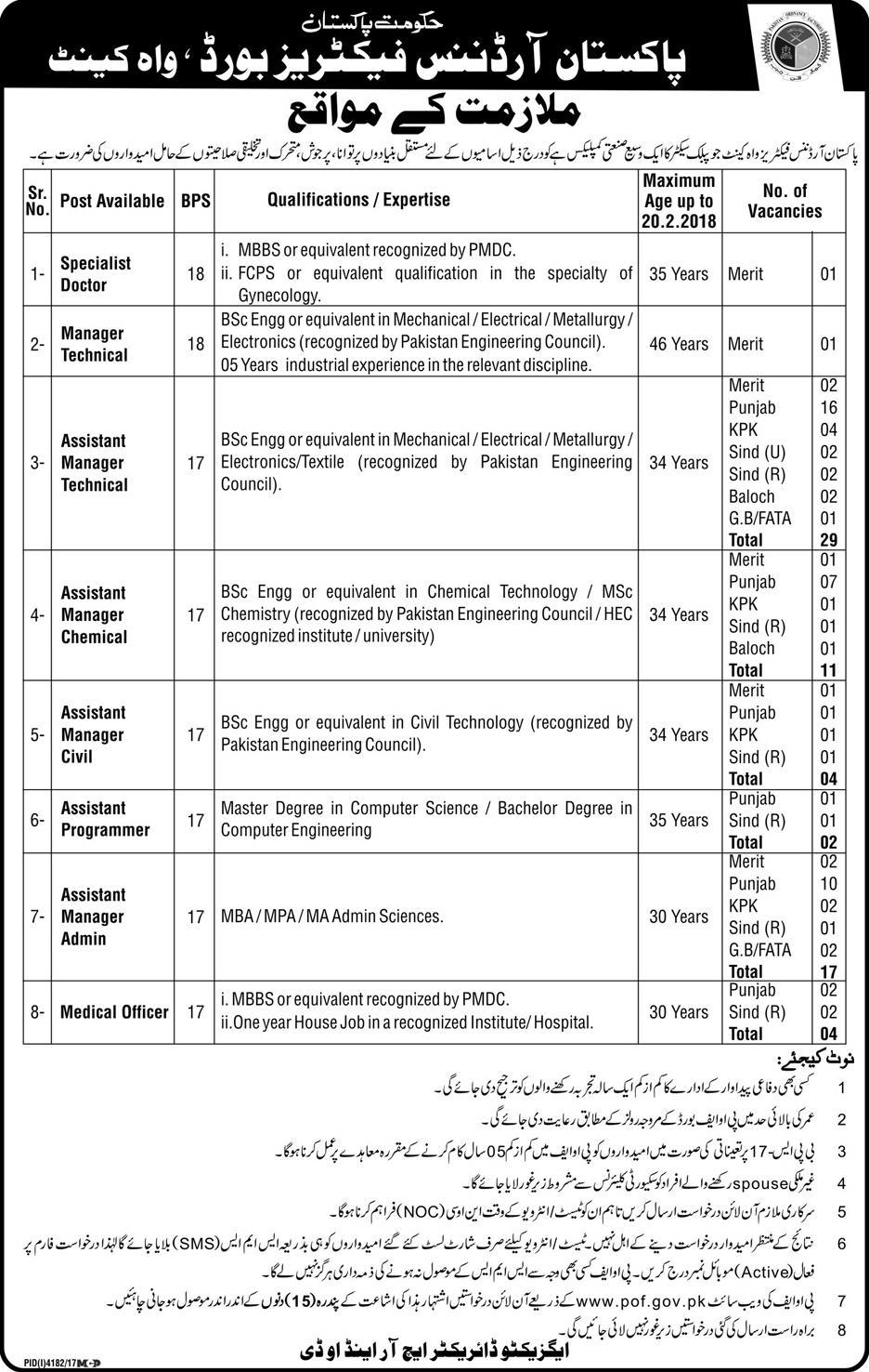 Pakistan Ordinance Factories Board (Wah Cant) 69 Jobs 06 February 2018 Daily Express Newspaper