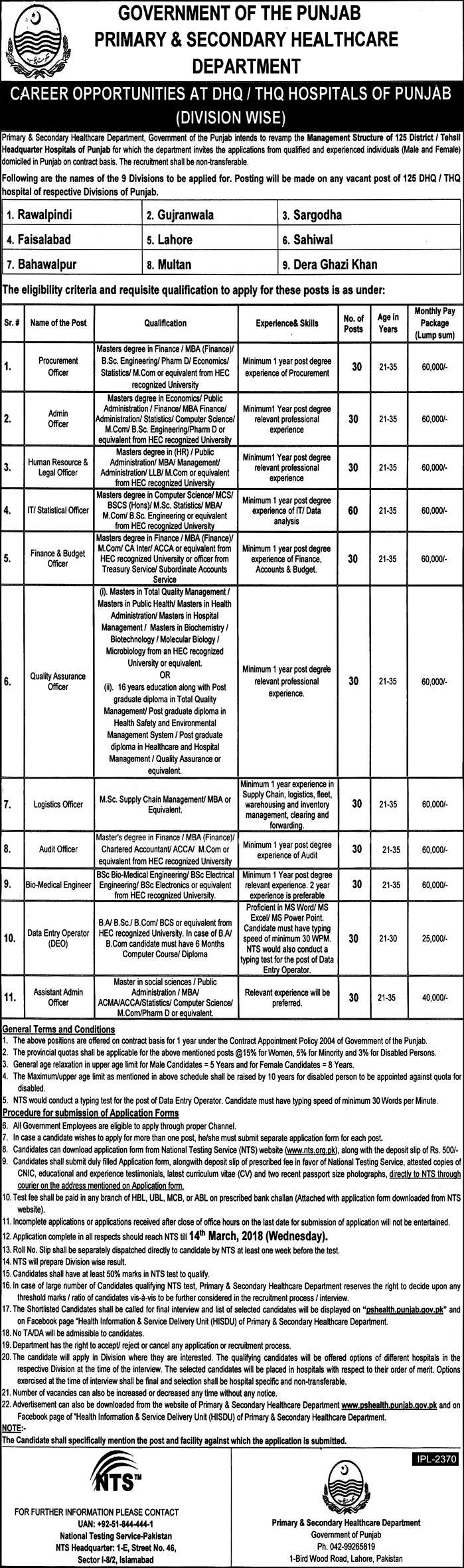 Primary and Secondary Healthcare Department 360 jobs 23rd February 2018 Daily Express Newspaper