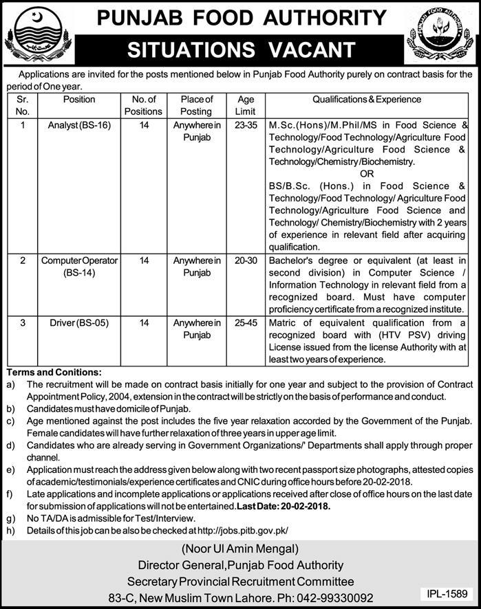 Punjab Food Authority 42 Jobs 06 February 2018 Daily Express Newspaper