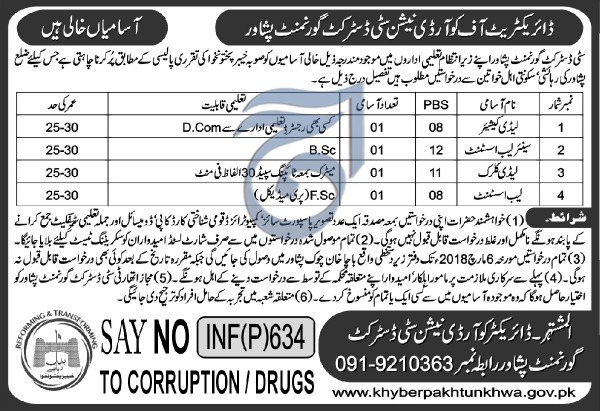 Directorate of Coordination City District Government Peshawar 04 Jobs, 07th February 2018 Daily Aaj Newspaper.