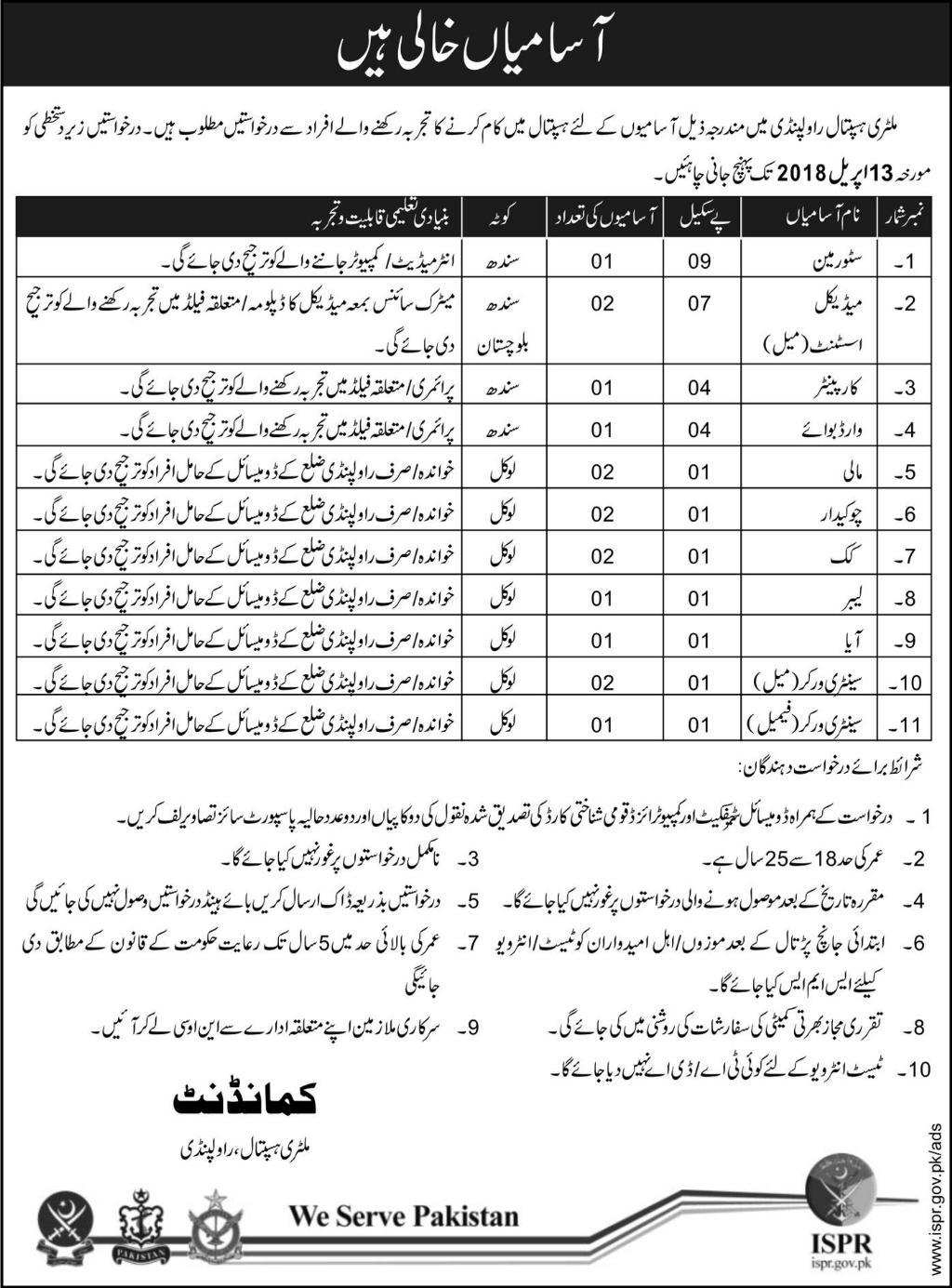 Jobs in Military Hospital Rawalpindi 31 March 2018 Daily Express Newspaper