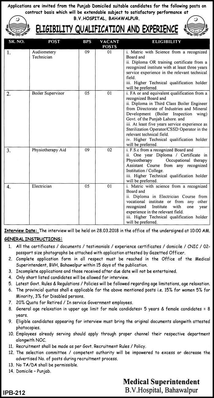 Bahawal Victoria Hospital 05 Jobs 01st March 2018 Daily Express Newspaper
