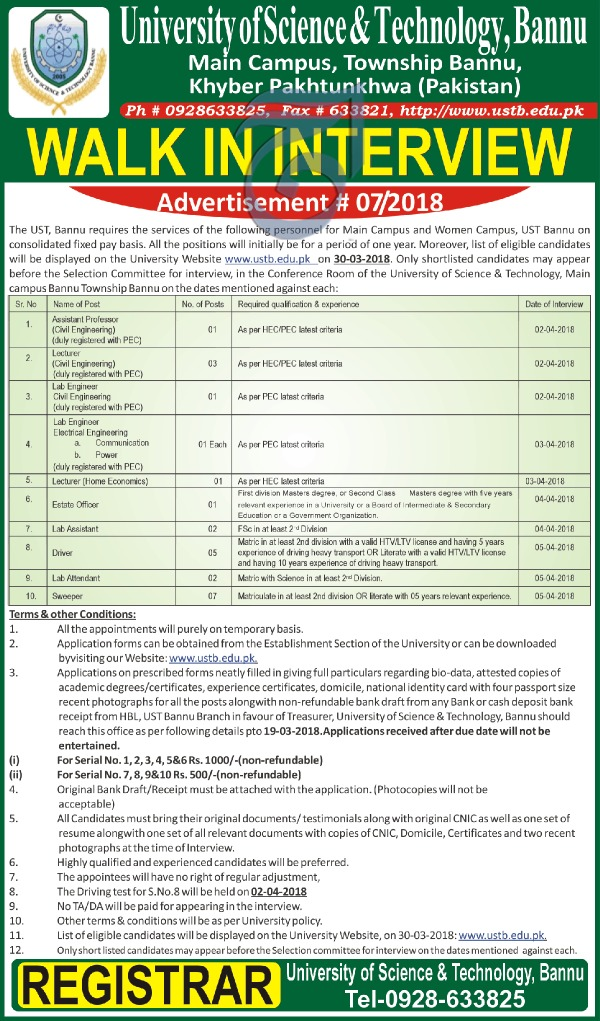Jobs in University of Science and Technology Bannu 10 March 2018 Daily Aaj Newspaper