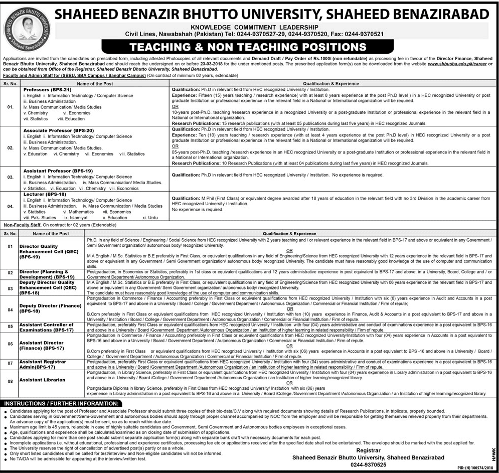 Jobs in Shaheed Benazir Bhutto University 03rd March 2018 Daily Jang Newspaper