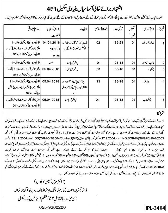 Jobs in Agriculture Department Gujranwala Daily Express Newspaper 19 March 2018