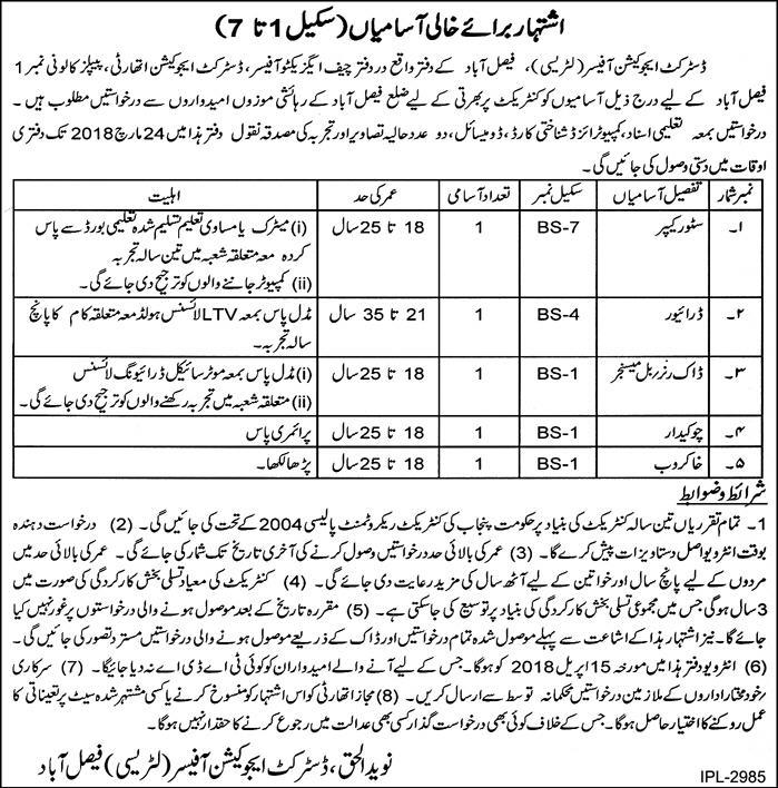 District Education authority Faisalabad 05 Jobs 08 March 2018 Daily Express Newspaper