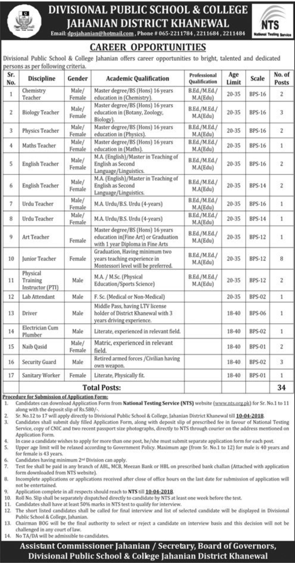 Jobs in Divisional Public School and College Khanewal 23 March 2018 Daily Express Newspaper