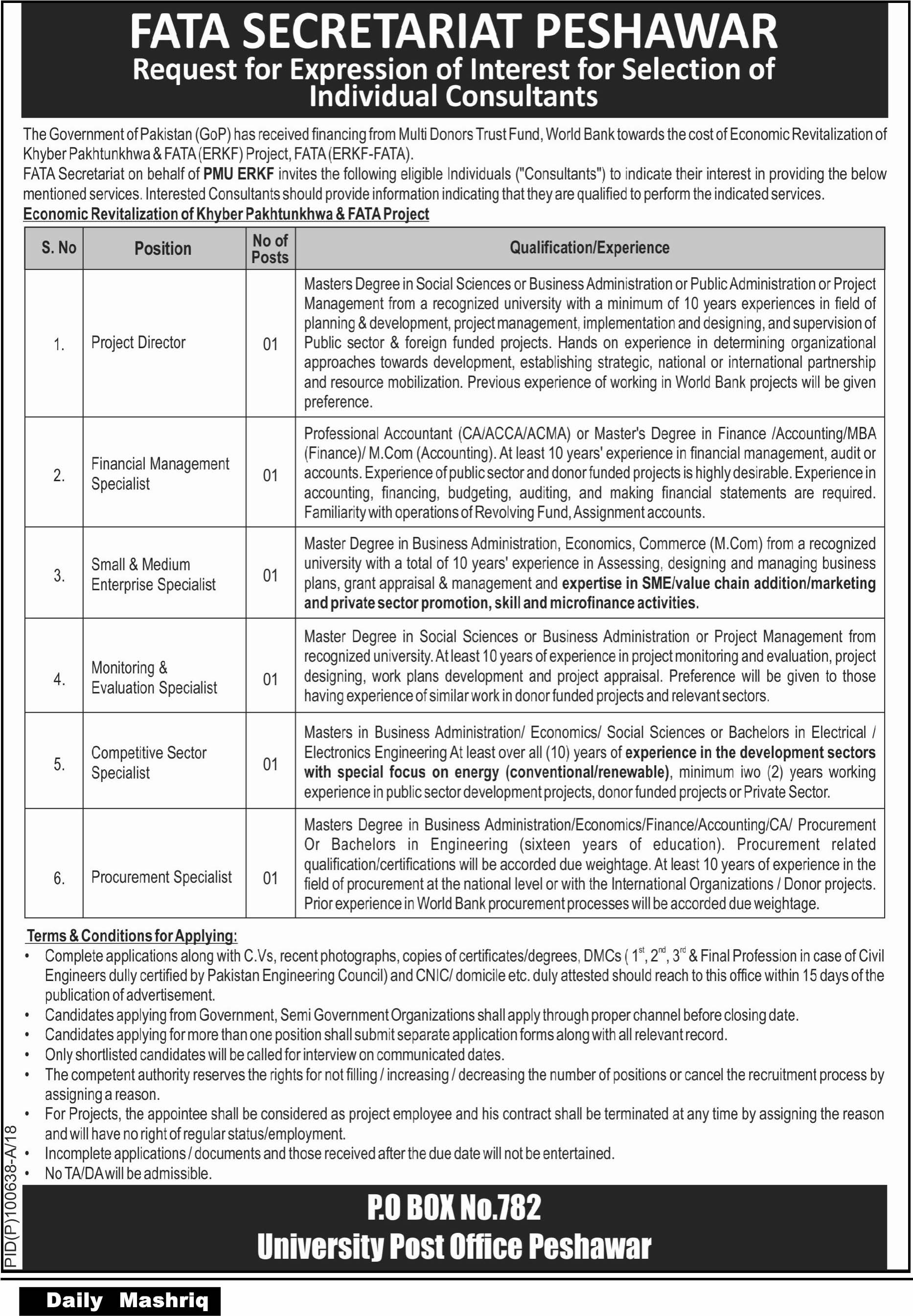 FATA Secretariat Jobs Daily Mashriq Newspaper 21 March 2018