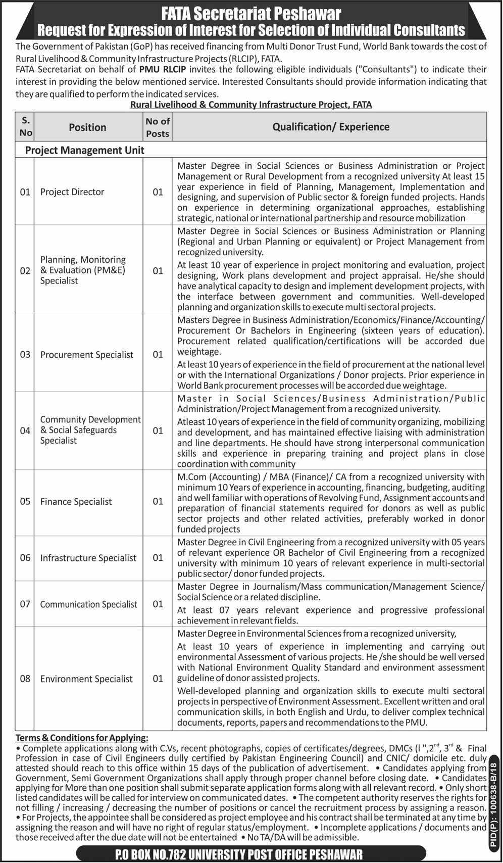 Jobs in FATA Secretariat Daily Mashriq Newspaper 21 March 2018