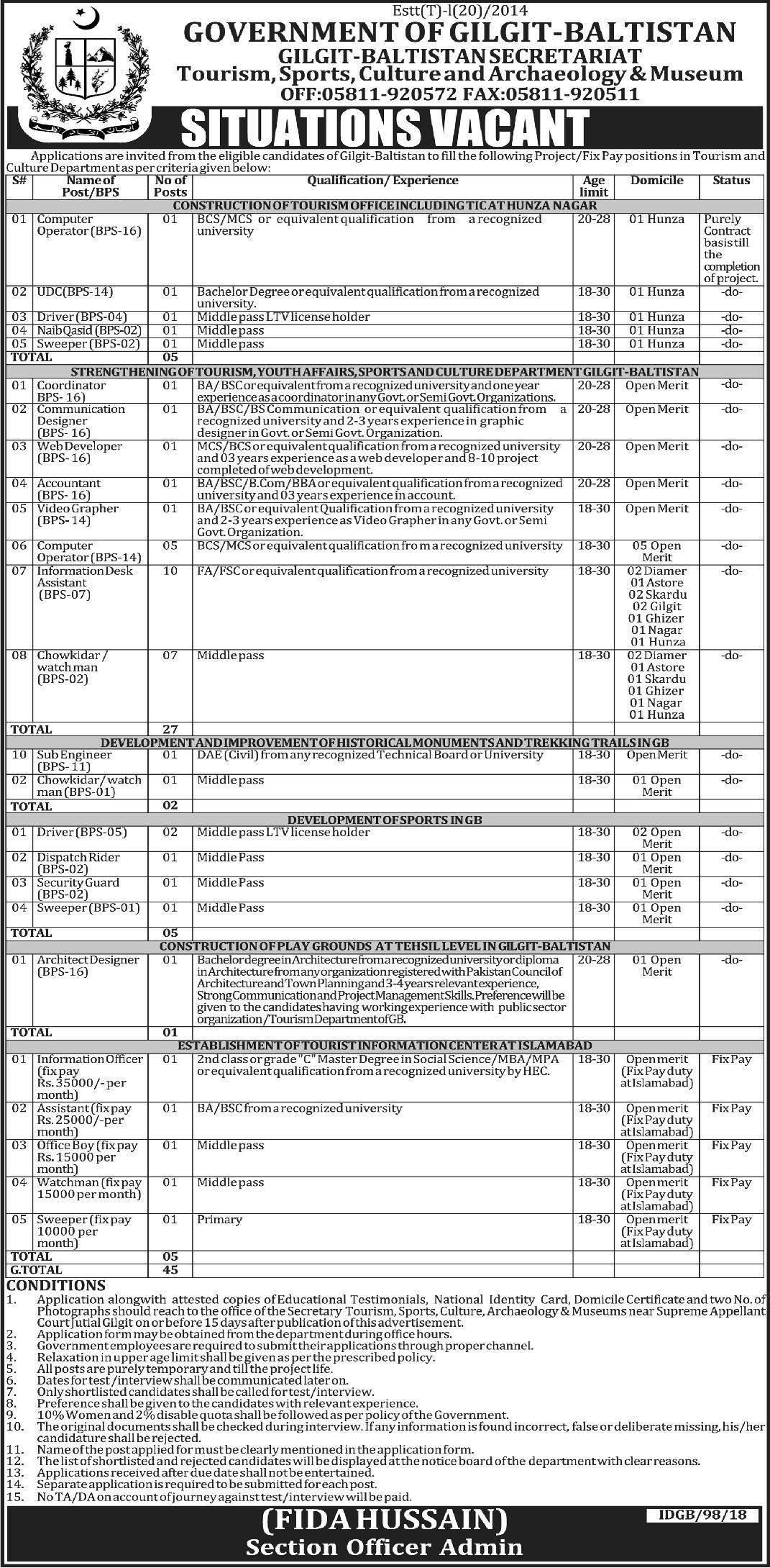 Gilgit Baltistan Secretariat 45 Jobs 10 March 2018 Daily Ausaf Newspaper
