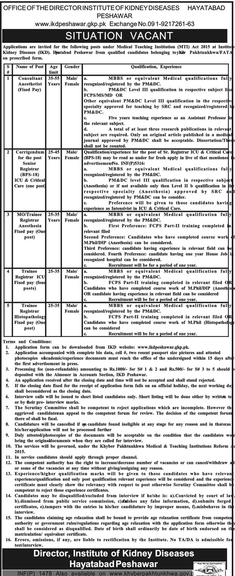 Jobs in Institute of Kidney Disease Hayatabad Daily Mashriq Newspaper 26 March 2018