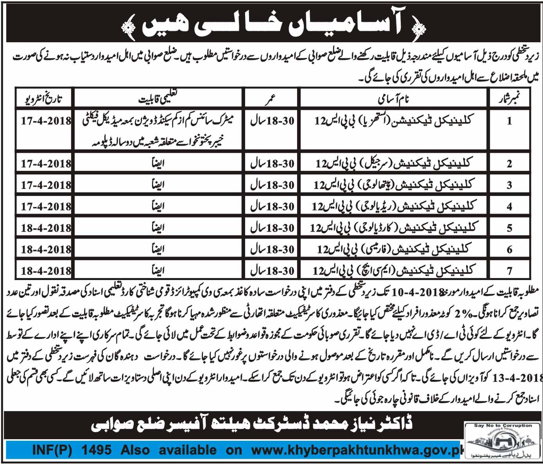 Jobs in District Health Officer Sawabi Daily Mashriq Newspaper 26 March 2018