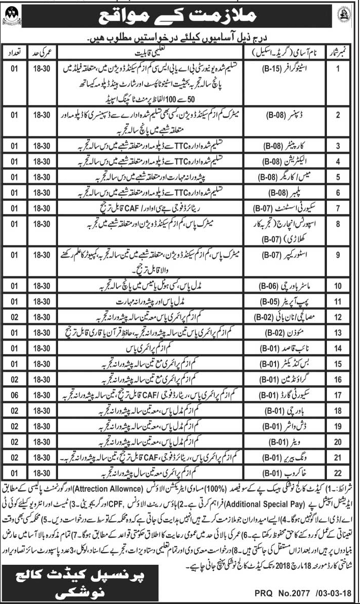 Jobs in Cadet College Noshki 05 March 2018 Daily Jang Newspaper