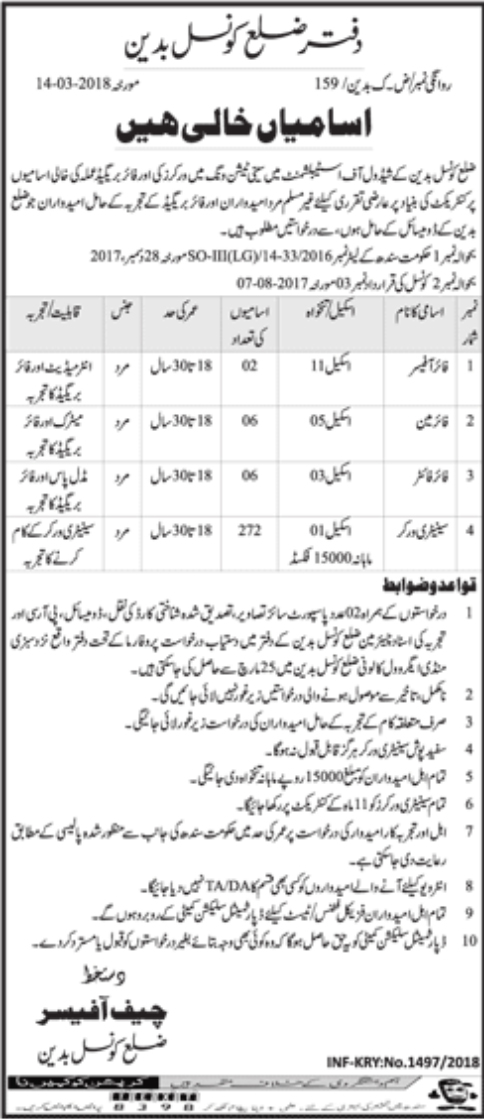 Jobs in District Council Badin Daily Dawn Newspaper 21 March 2018