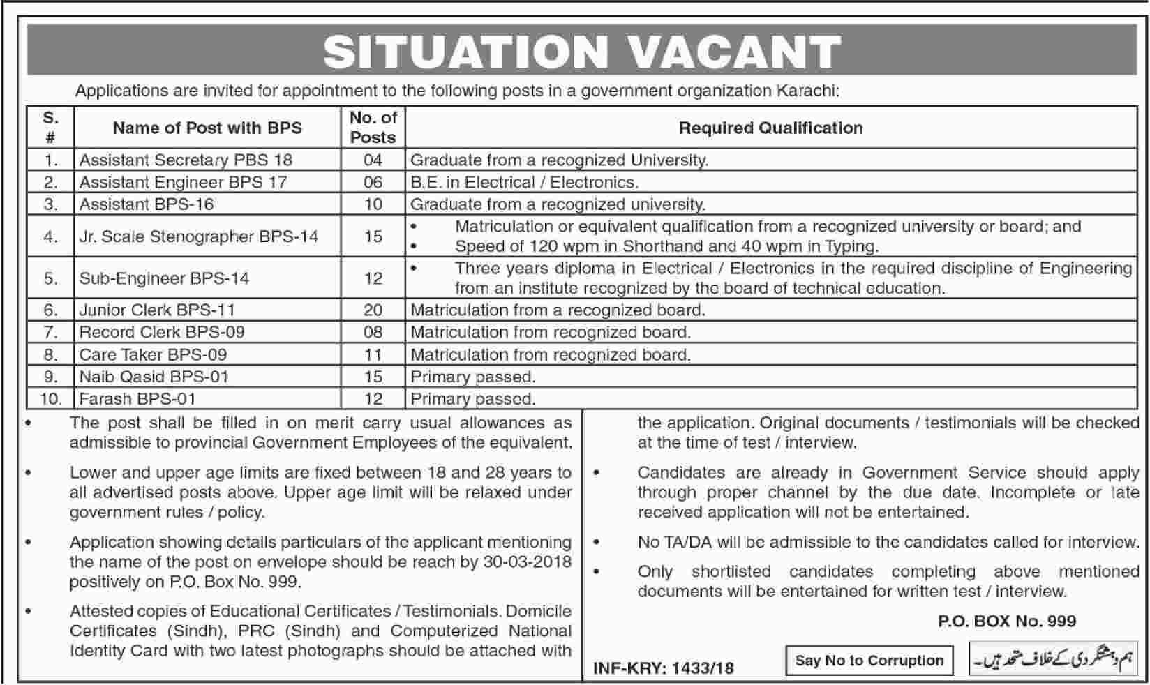 Government Organization Jobs in Karachi Daily Dawn Newspaper 16 March 2018