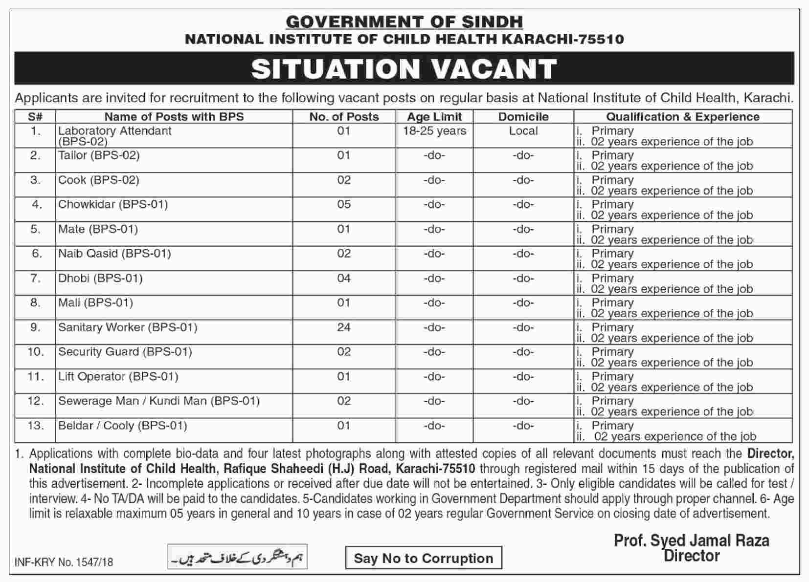 Jobs in National Institute of Child Health Karachi Daily Dawn Newspaper 22 March 2018