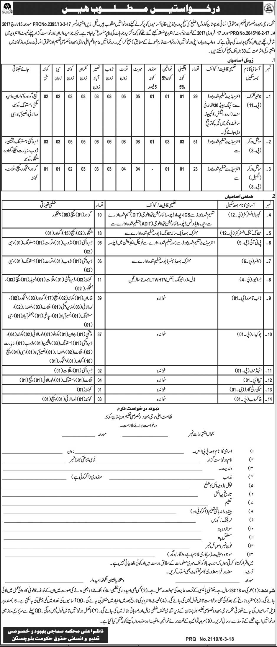 Social Welfare and Special Education Balochistan 240 Jobs 07 March 2018 Daily Jang Newspaper
