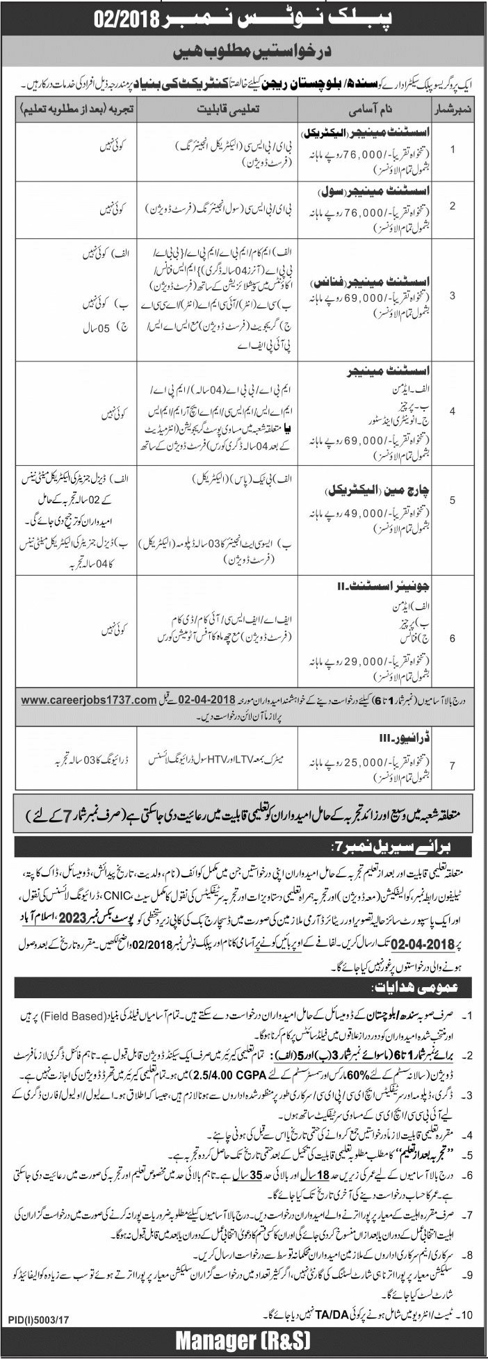 Jobs in Public Sector Organization Daily Jang Newspaper 18 March 2018