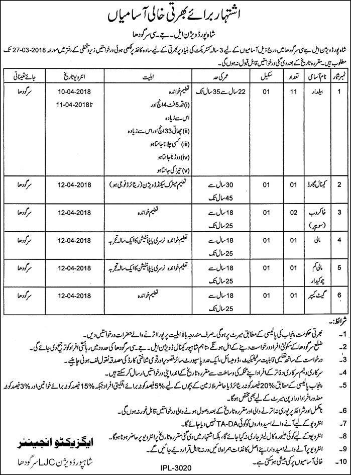 Shah Pur Division LJC Sargodha 17 Jobs 09 March 2018 Daily Pakistan Newspaper