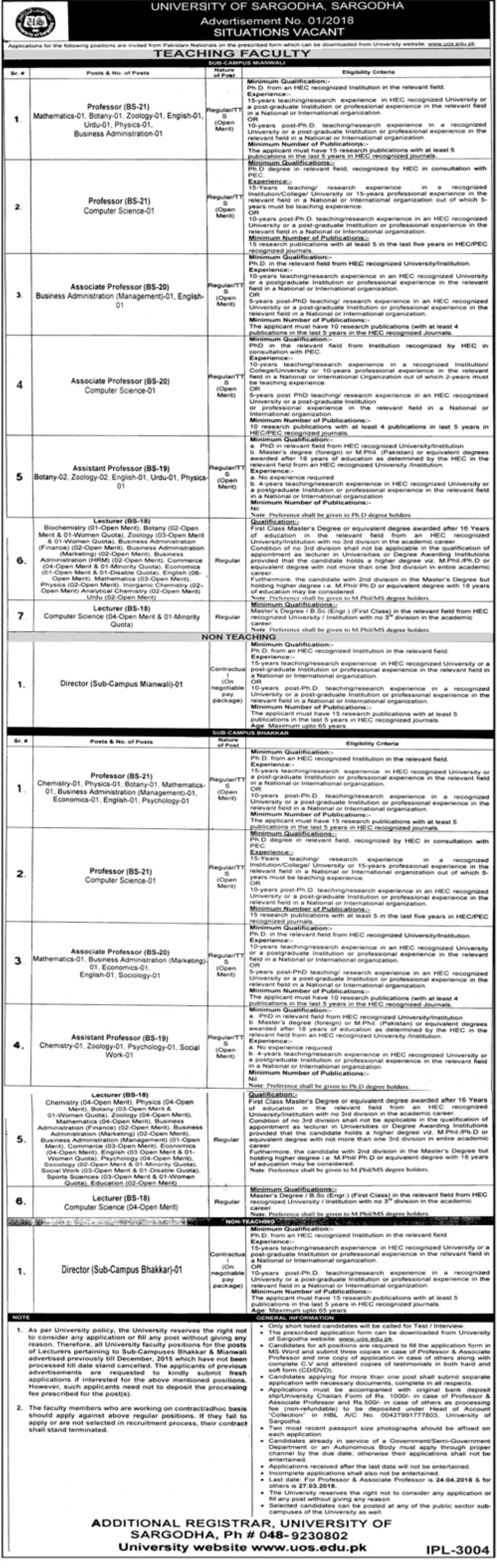 University of Sargodha New Jobs 09 March 2018 Daily Jang Newspaper