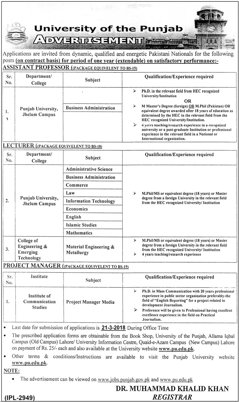 University of the Punjab Jobs March 08 2018 Daily Jang Newspaper