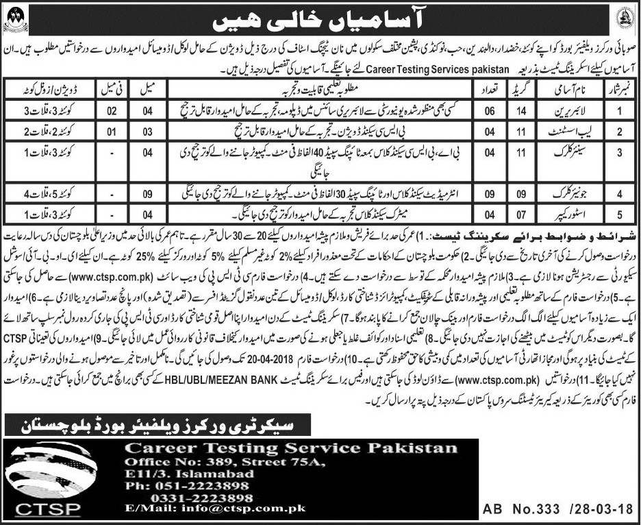 Workers Welfare Board Balochistan 27 Jobs 31 March 2018 Daily Jang Newspaper
