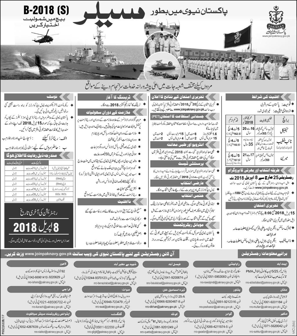 Jobs in Pakistan Navy 25March 2018DailyExpress Newspaper