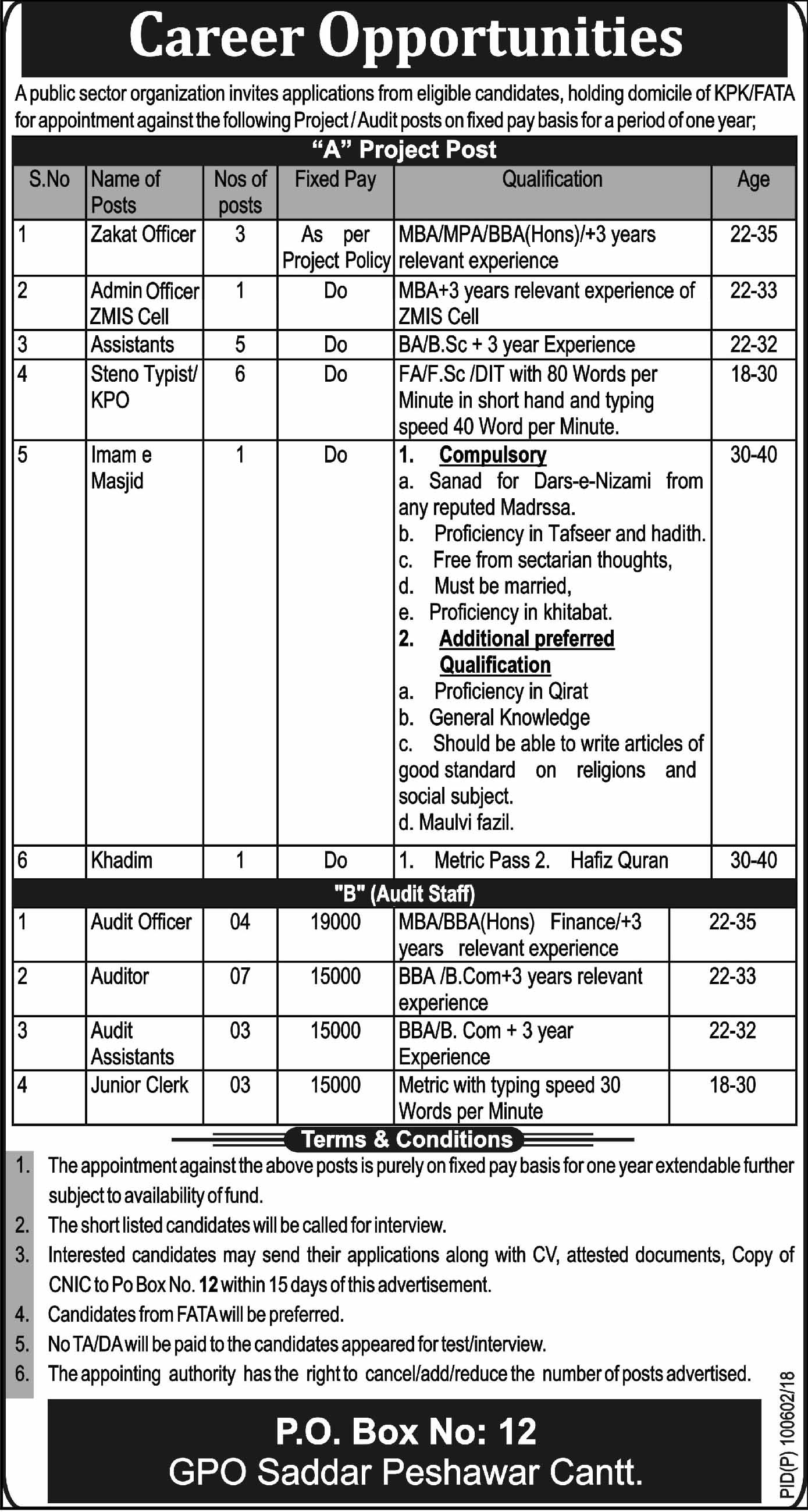 Public Sector Organization 34 Jobs Daily Mashriq Newspaper 15 March 2018