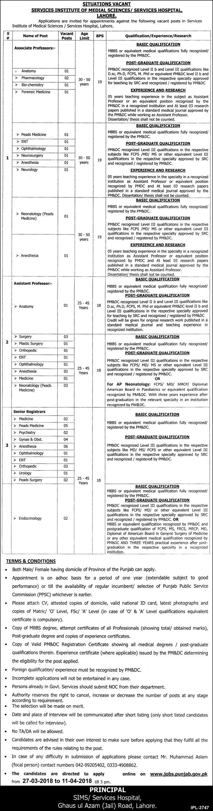 Jobs in Services Institute of Medical Sciences/Services Hospital Lahore Daily Express Newspaper 28 March 2018