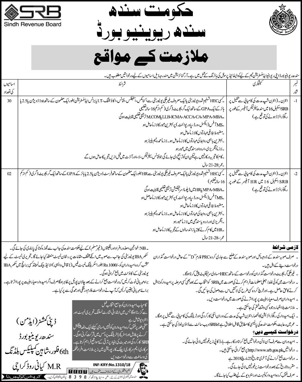Jobs in Sindh Revenue Board Express Newspaper 22 March 2018