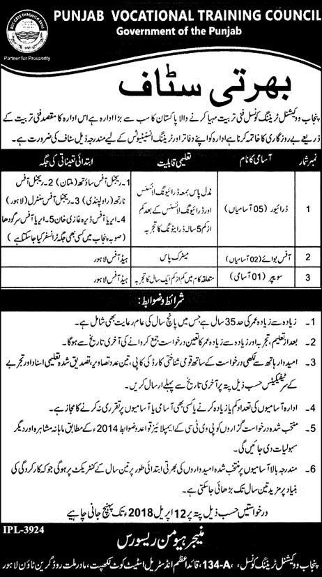 Jobs in Punjab Vocational Training Council 31 March 2018 Daily Express Newspaper