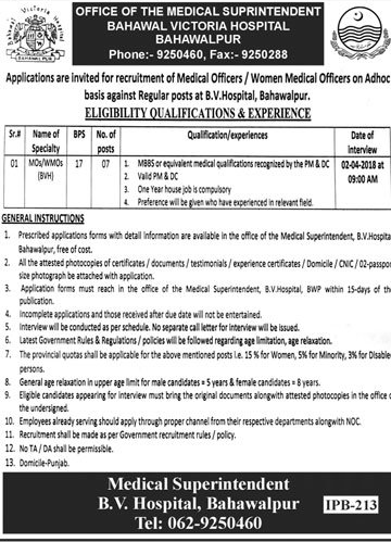 Bahawal Victoria Hospital 07 Jobs 01st March 2018 Daily Jang Newspaper