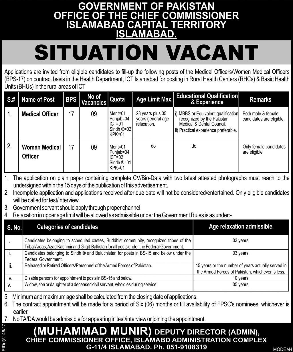 Jobs in Health Department Islamabad Daily Express Newspaper 22 March 2018