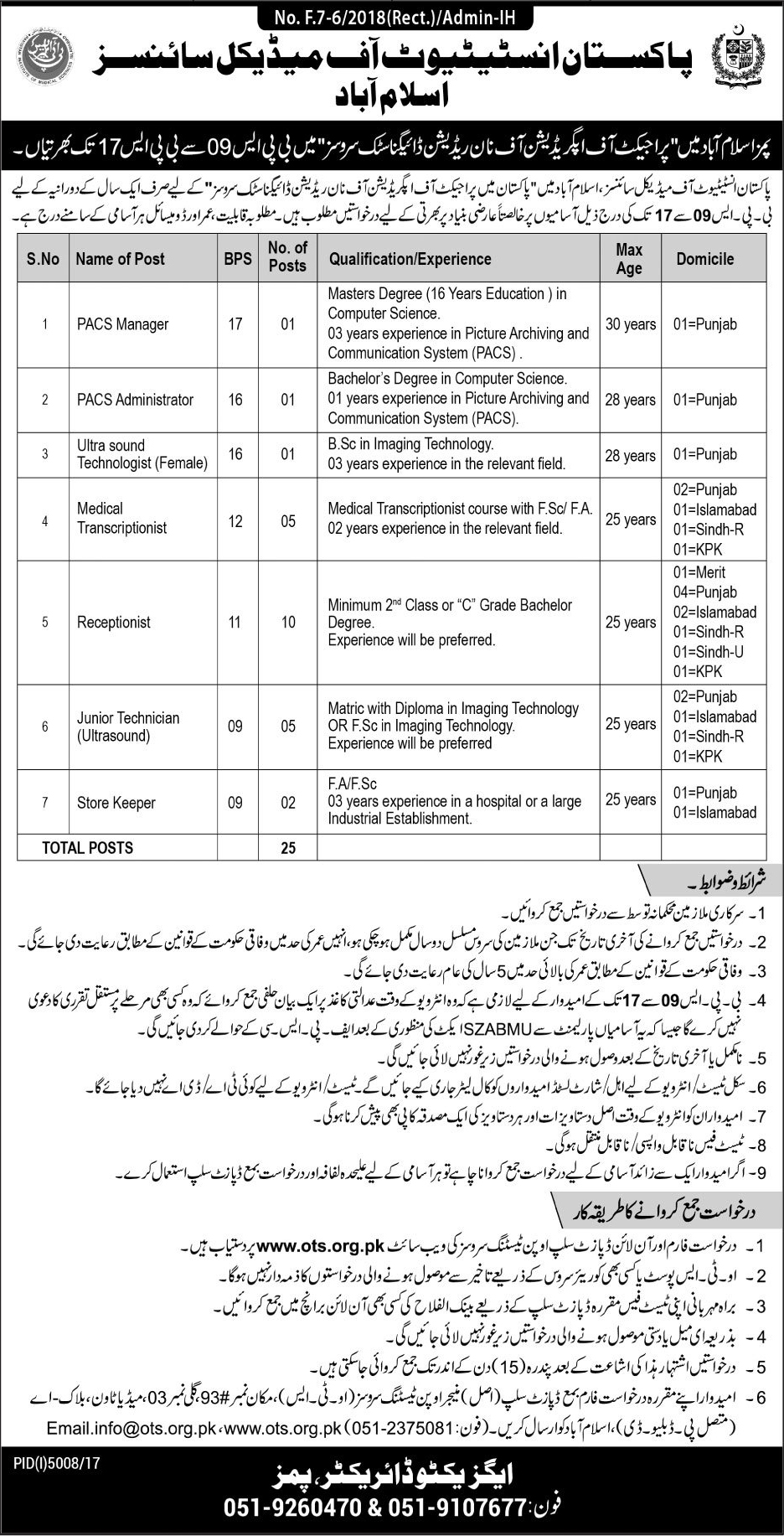 Pakistan Institute of Medical Sciences 25 Jobs Daily Jang Newspaper 18 March 2018