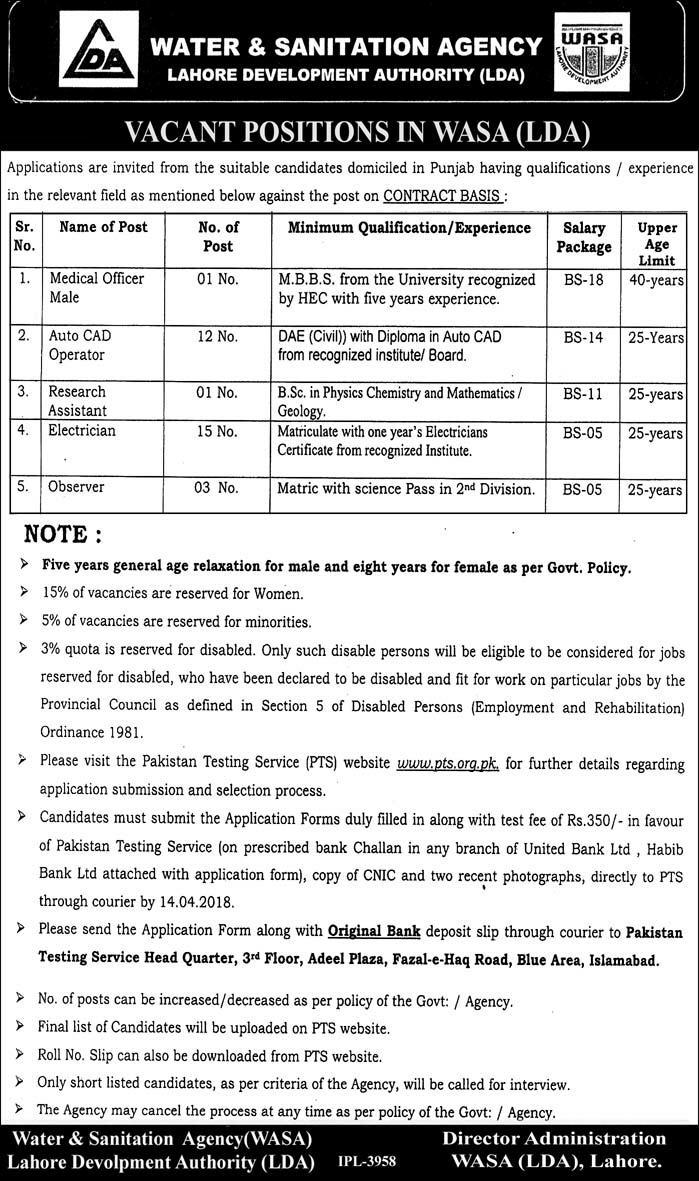 Jobs in Water and Sanitation Agency 31 March 2018 Daily Express Newspaper