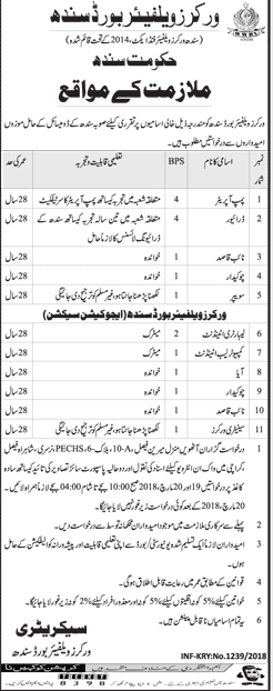 Jobs in Worker Welfare Board Sindh 05 March 2018 Daily Jang Newspaper