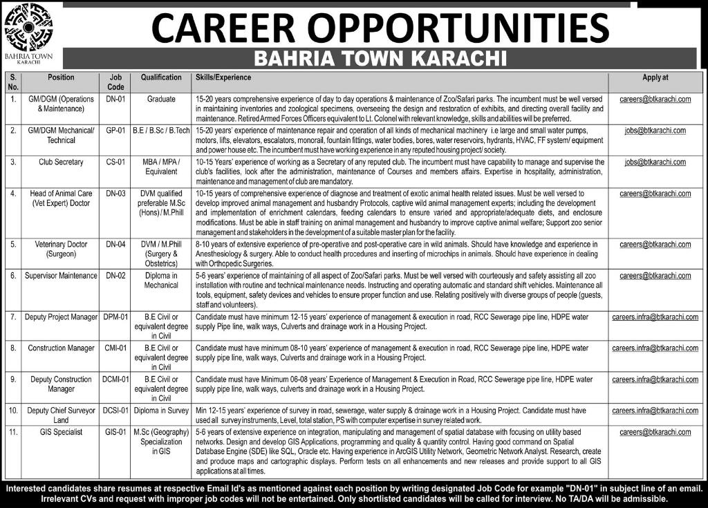 Jobs in Bahria Town Karachi Daily Express Newspaper 09 April 2018