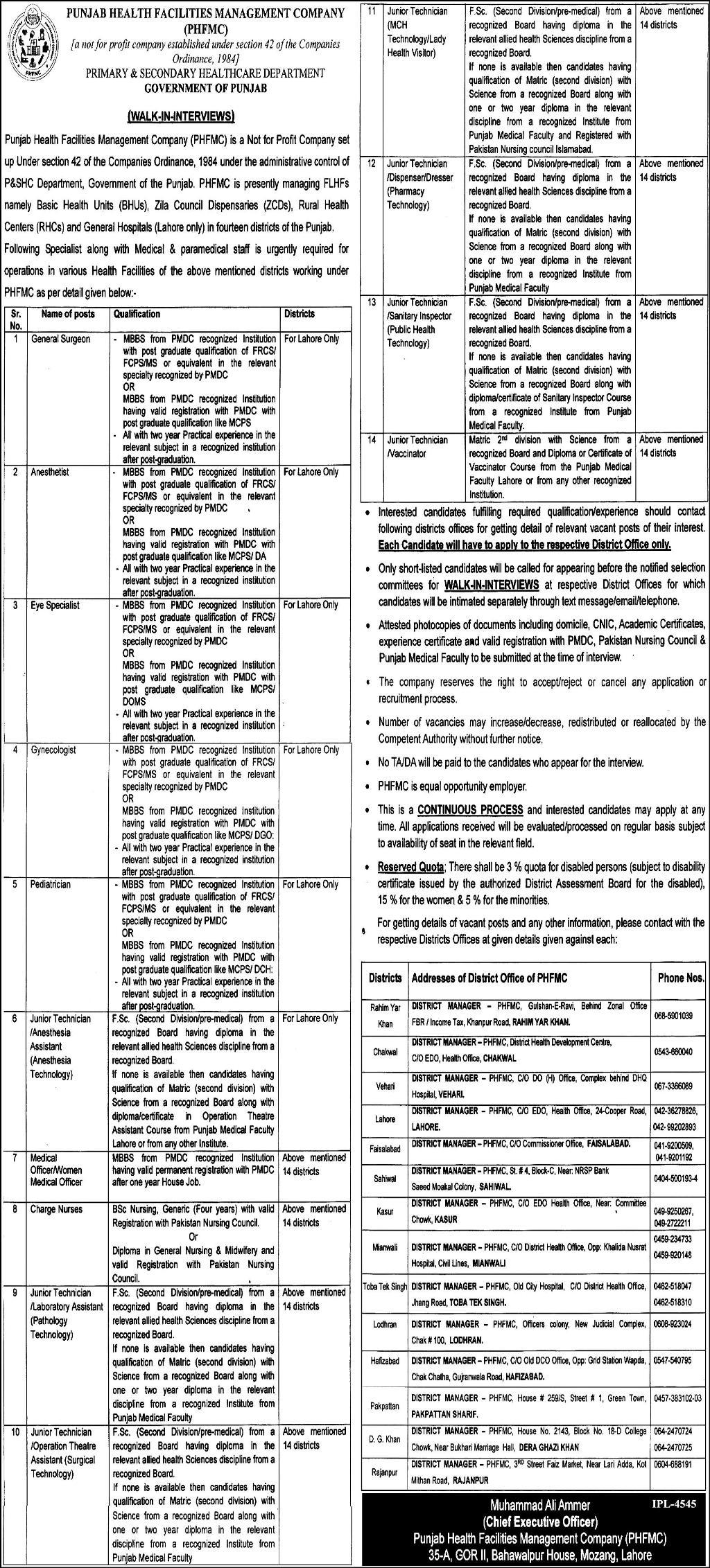 Punjab Health Facilities Management Company New Jobs Daily Express Newspaper 11 April 2018
