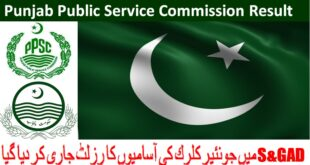 PPSC Announced S&GAD Jobs Results 23/04/2018