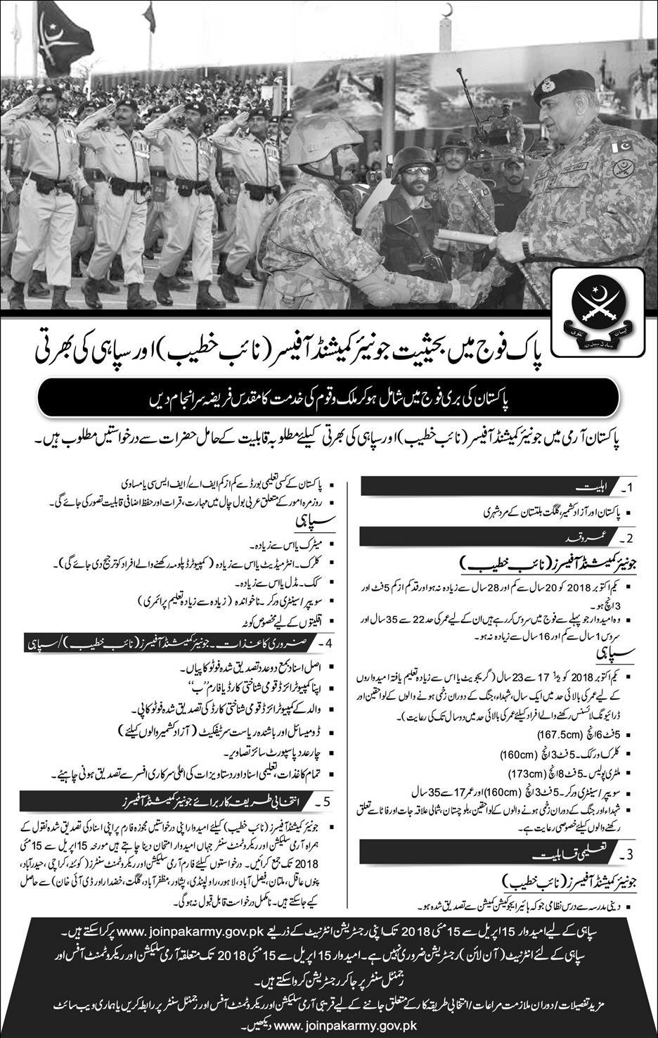 Pakistan Army New Jobs Daily Express Newspaper 08April 2018