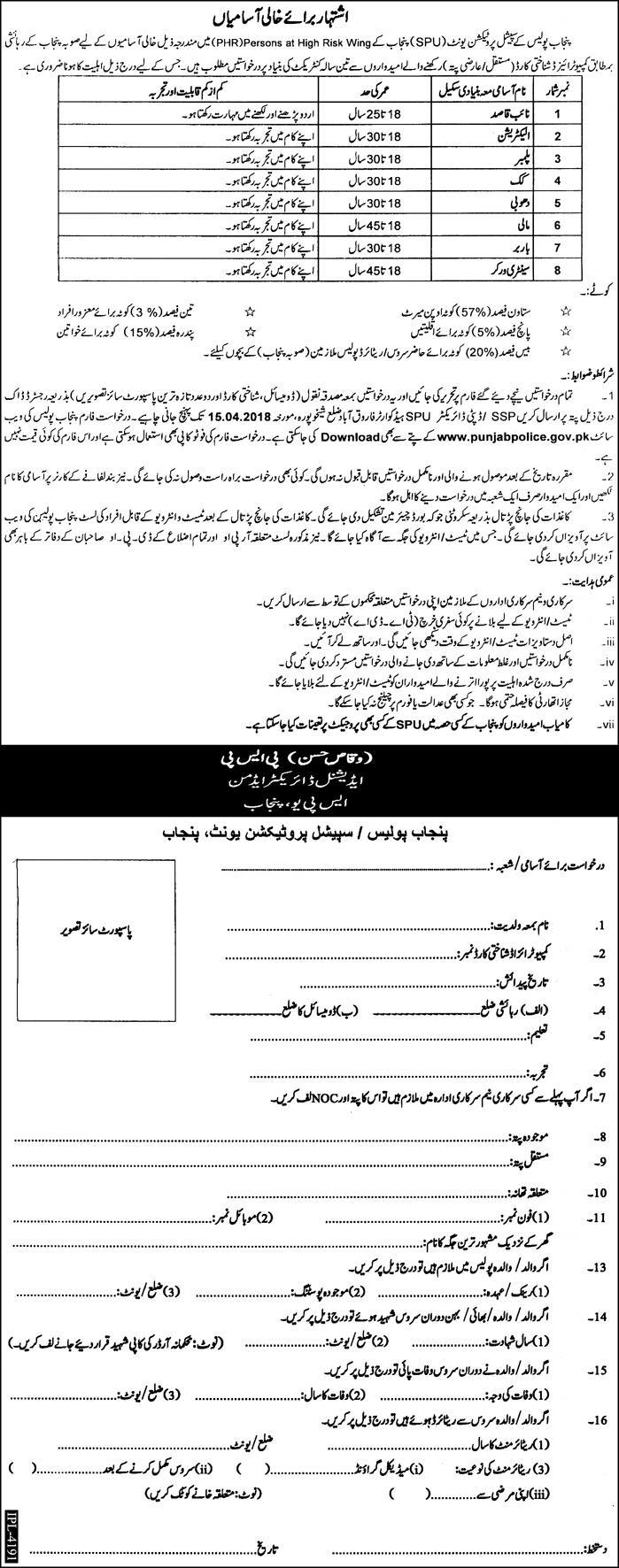 Special Protection Unit of Punjab Police New Jobs Daily Express Newspaper 08 April 2018