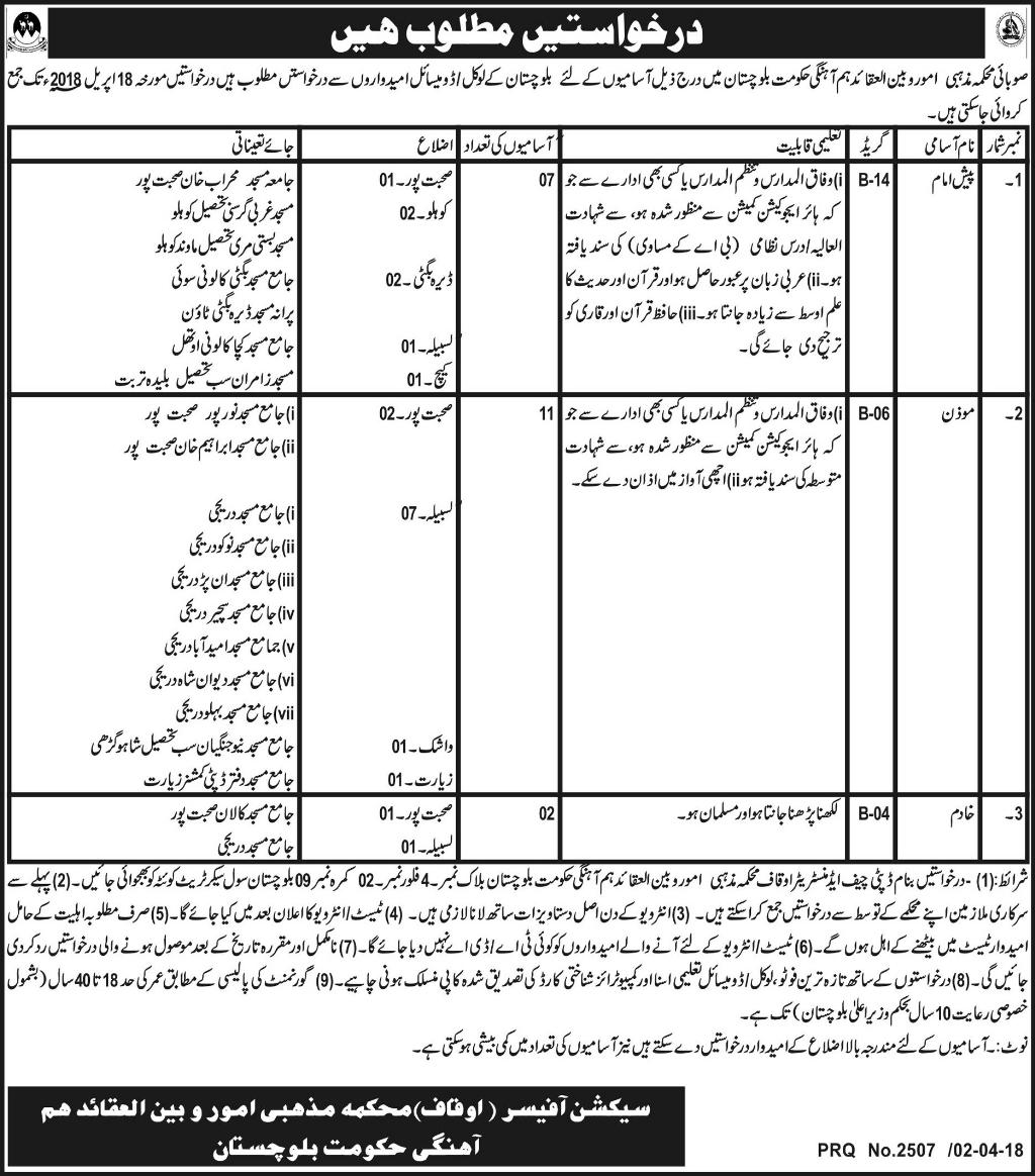 Jobs in Ministry of Religious Affairs and Interfaith Harmony Daily Express Newspaper 04 April 2018