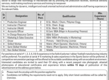 Jobs in Sports Industries Development Center Sialkot Daily Jang Newspaper 05 April 2018