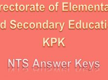 Directorate of Elementary and Secondary Education NTS Test Results 2018