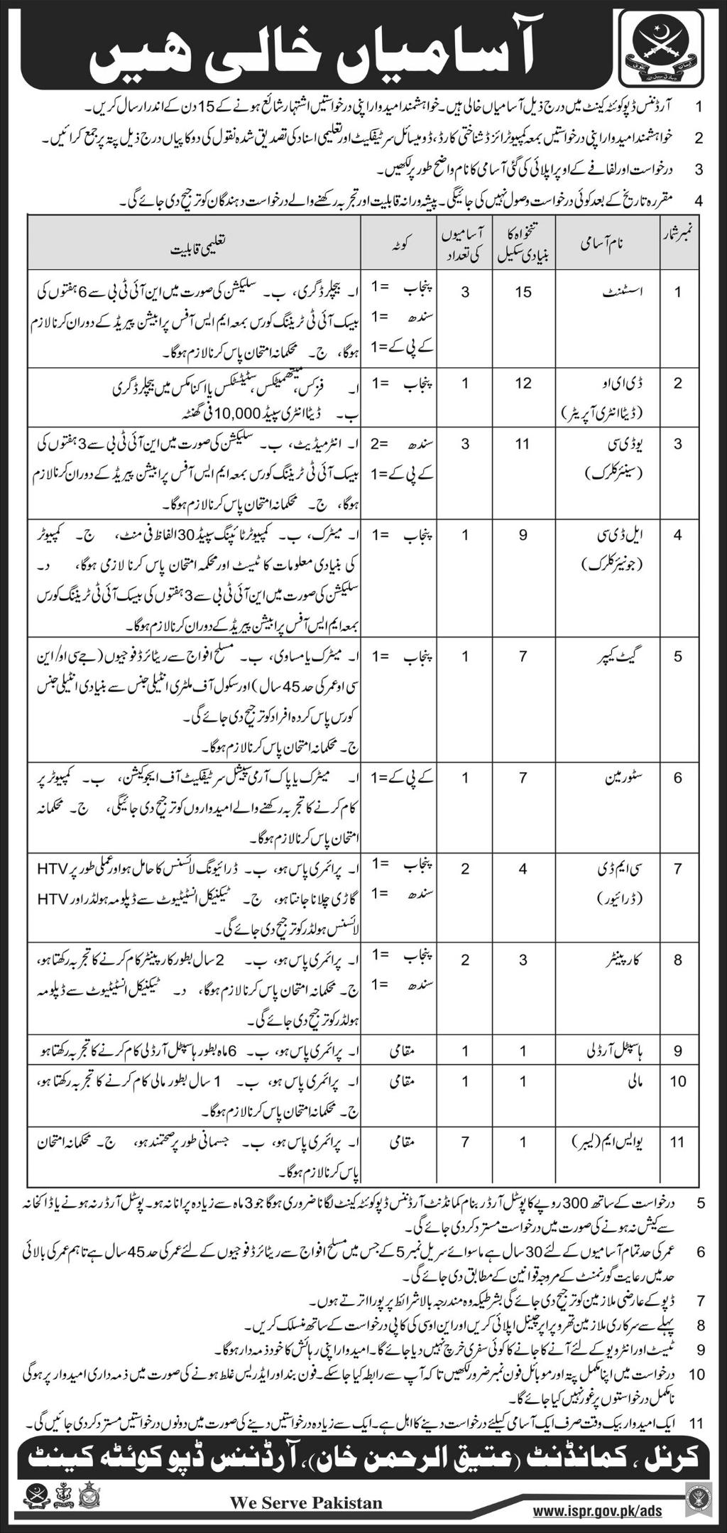 Jobs in Ordinance Depot Quetta Cant Daily Express Newspaper 15 April 2018