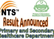 National Testing Service Primary and Secondary Healthcare Department Result 29/04/2018